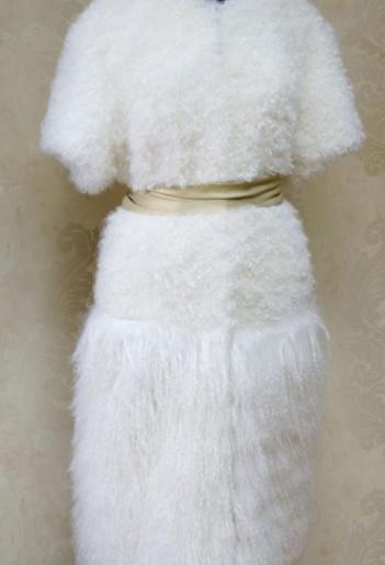 Шуба из меха козлика и ламы фото
