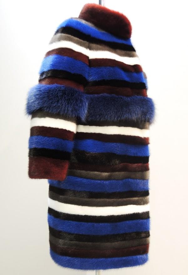 Шуба из разноцветной норки на заказ