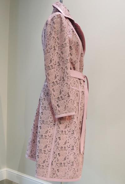 Пальто из розовой кожи заказать в Минске
