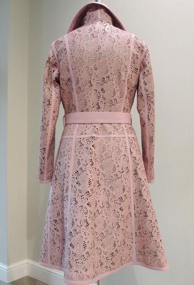 Пальто из розовой кожи заказать