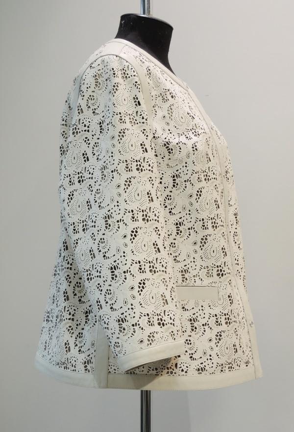 Куртка из гладкой и перфорированной кожи на заказ
