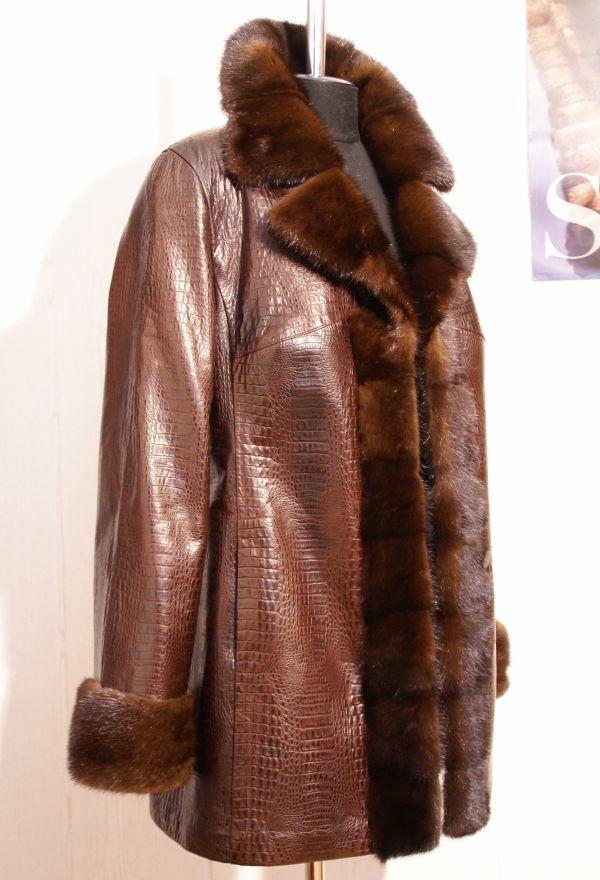 Куртка из кожи и норки фото