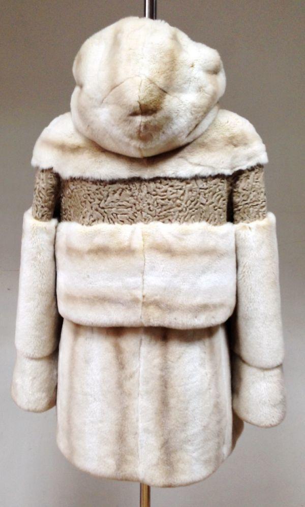 Шуба из натурального меха кролика и каракульчи в Минске