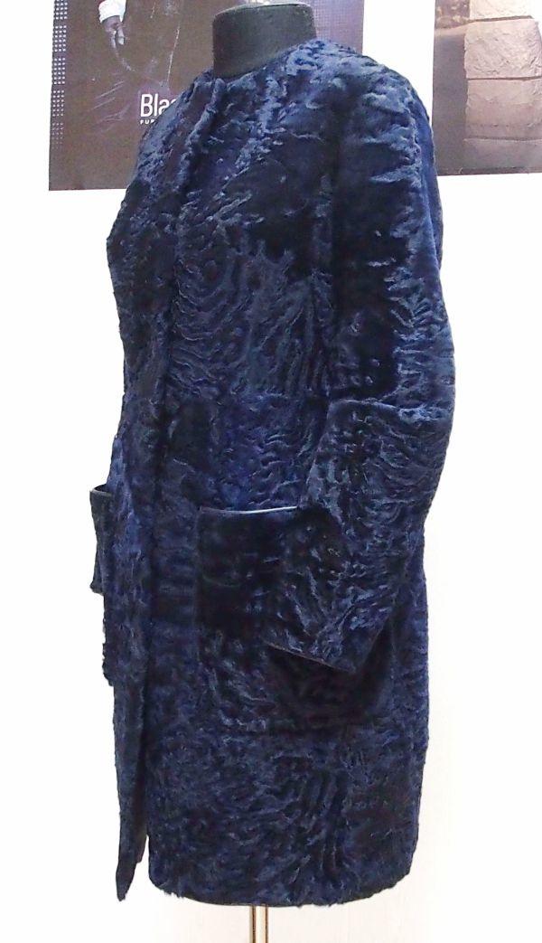 Шуба из синей каракульчи на заказ